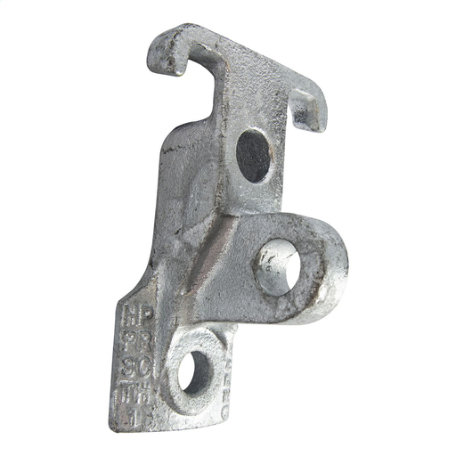 Mayer-Cast ductile iron combination guy- hook/pole-eye attachment for deadending guy wire. Minimum ultimate tensile strength is 12,500 lbs. Includes 11/16in upper and lower holes and backside cleats for wood pole installation. Clevis pin hole is 11/16in. Common industry slang is Ram's Head.-1