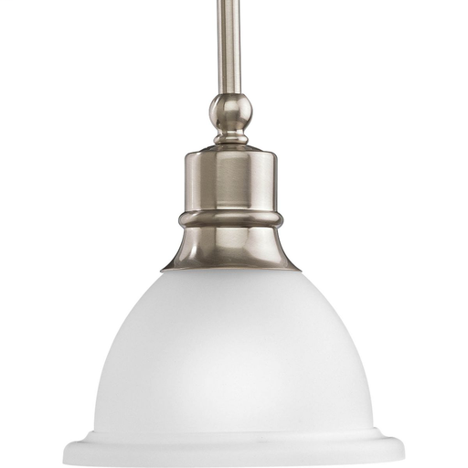 Mayer-Madison Collection One-Light Brushed Nickel Etched Glass Traditional Mini-Pendant Light-1