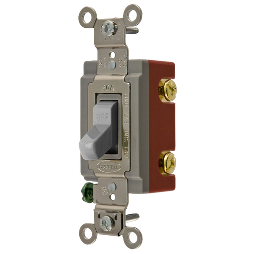 Mayer-Switches and Lighting Controls, Extra Heavy Duty Industrial Grade, Toggle Switches, General Purpose AC, Double Pole, 20A 120/277V AC, Back and Side Wired, Gray Toggle-1