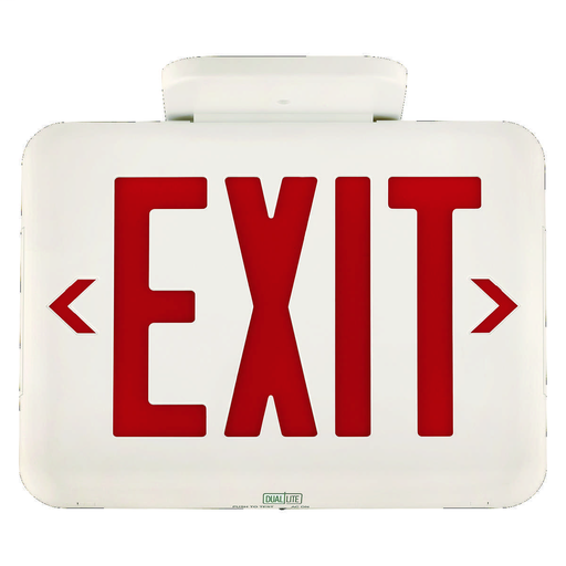 EVE Series LED exit sign, Face style: Universal Face, Letter Color: Red, Housing Finish: White, Operation: Emergency, Battery Type: Nickel Metal Hydride (NiMH), Battery Runtime: 90 min, Voltage Rating: 120/277 VAC.