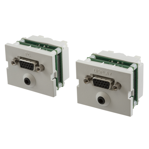 Mayer-iStation, Modular VGA, 3.5 MM StereoJack, 110 Termination, 1.5-Unit, Electric Ivory-1