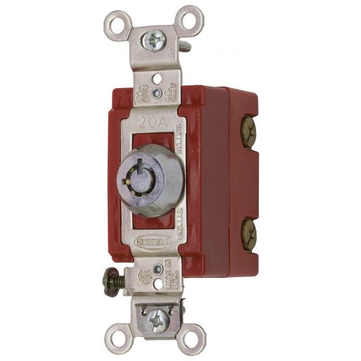 Mayer-Switches and Lighting Controls, Industrial Grade, Barrel Key Locking Switch, General Purpose AC, Single Pole, 20A 120/277V AC, Back and Side Wired, Chrome-1