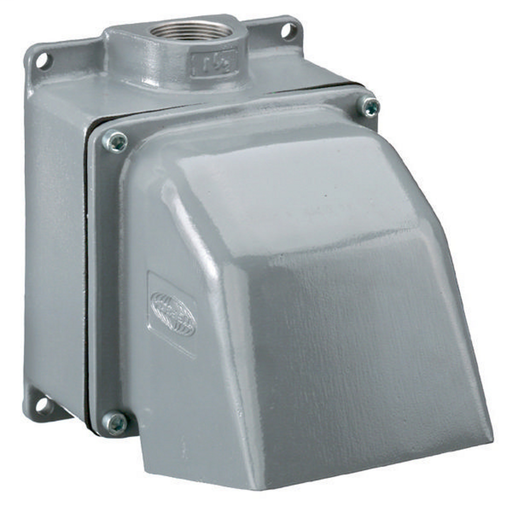 """Mayer-Heavy Duty Products, IEC Pin and Sleeve Devices, Industrial Grade, Back Box, For 60A and 100A 1 1/2"""" NPT Hub, 4 Way Angled, Mounting Screws Included, Gray Cast Aluminum-1"""