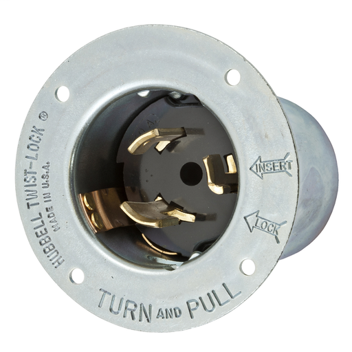 Mayer-Locking Devices, Twist-Lock®, Industrial, Flanged Inlet, 50A 250V, 2-Pole 3-Wire Grounding, Non-NEMA, Screw Terminal, Black-1