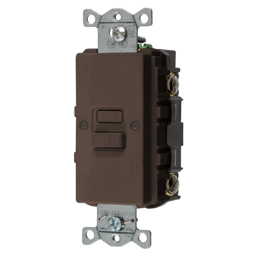 Mayer-Power Protection Devices, Self Test Faceless GFCI, 20A 125V, 2-Pole 3-Wire Grounding, Brown-1