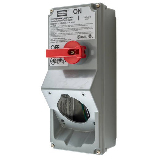 Mayer-Heavy Duty Products, Switched Twist-Lock®, Industrial Grade, Accessories, Mechanical Interlock, 30A 600V AC, Single Conductor, Terminal Screws, Gray-1