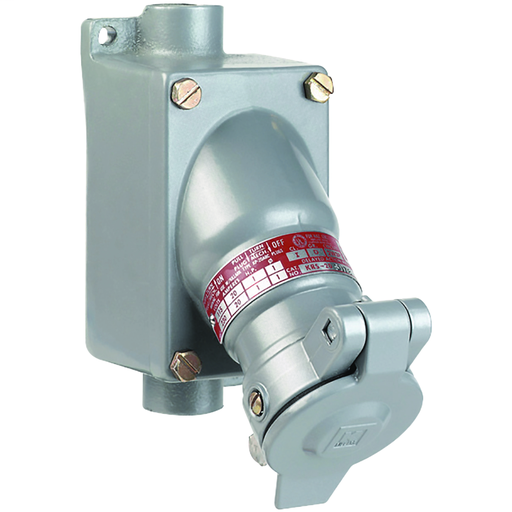 KR Series - Aluminum 30 Amp Receptacle With Feed-Thru Enclosure - 3W 4P Circuit - 115/230VAC At 60Hz - Hub Size 3/4 Inch