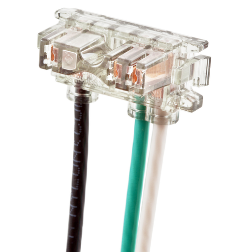 Mayer-Straight Blade Devices, Receptacles, SNAP-CONNECT Connector, SNAP-CONNECT Series, 2-Pole 3-Wire Grounding, 20A 125V, Stranded, Right Angled, Clear terminal with 6-inch leads-1