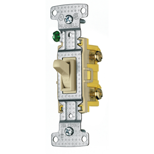 Mayer-TradeSelect, Switches and Lighting Controls, Residential Grade, Toggle Switches, Single Pole, 15A 120V AC, Ivory-1