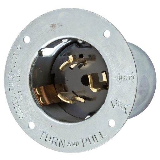 Mayer-Locking Devices, Twist-Lock®, Industrial, Flanged Inlet, 50A, 125V/250V AC, 3-Pole 4-Wire Grounding, Non-NEMA, Screw Terminal, Steel-1