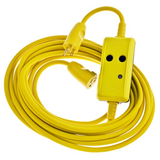 Power Protection Products, GFCI Linecords, Commercial, Manual Set, 15A 120V AC, 5-15R, 50' Cord Lenth, 4-6 mA Trip Level, Yellow