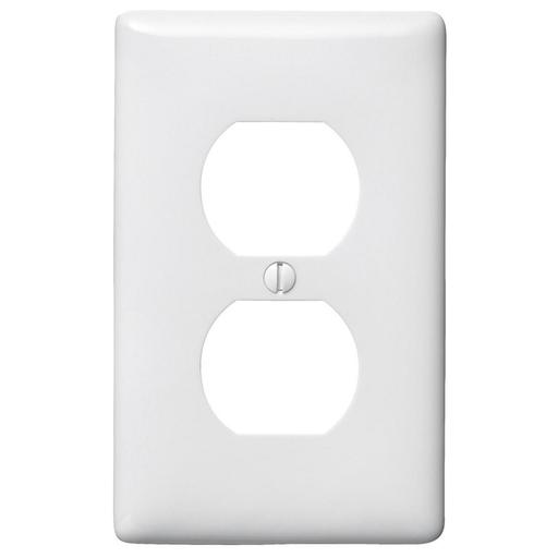 Mayer-Wallplates and Box Covers, Wallplate, Nylon, 1-Gang, 1) Duplex, White-1
