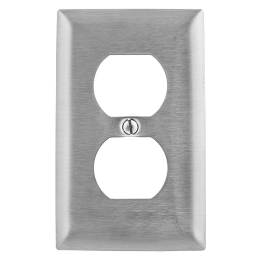 Mayer-Wallplates and Boxes, Metallic Plates, 1- Gang, 1) Duplex Opening, Standard Size, Stainless Steel-1
