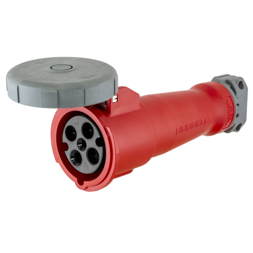 Mayer-Heavy Duty Products, IEC Pin and Sleeve Devices, Industrial Grade, Female, Connector Body, 100A 3-Phase Delta 480V AC, 3-Pole 4-Wire Grounding, Terminal Screws, Red, Watertight-1