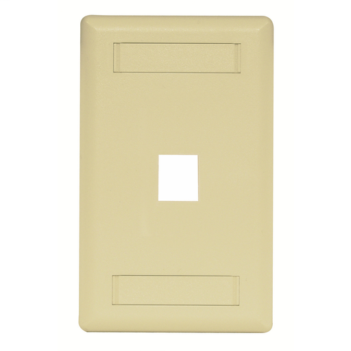 Mayer-Phone/Data/Multimedia Faceplate, Face Plate, Rear-Loading, 1-Port, Single-Gang, Electric Ivory-1