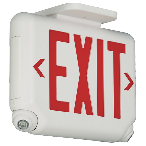 EVC Series architectural LED combination exit / emergency light, Mounting Type: Ceiling or End Mount, Wording On Sign: EXIT, Letter Color: red, Color: white, Number of Lamps: 2, Operation: emergency operation, Battery Type: Lithium Iron Phosphate, Battery