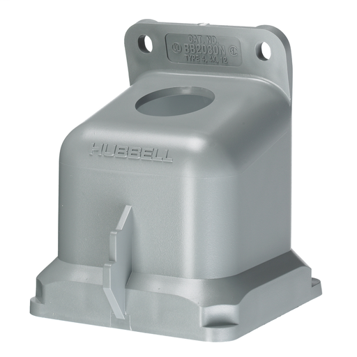 """Mayer-Heavy Duty Products, IEC Pin and Sleeve Devices, Industrial Grade, Accessory, Back Box, For 20A and 30A 3/4"""" NPT Hub, Angled, MountingScrews Included, Gray Non-Metallic-1"""