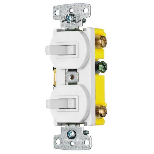 Mayer-Switches and Lighting Controls, Combination Devices, Residential Grade, 2) Three Way Toggles, Self Grounding, 15A 120V AC, Side Wired, White-1