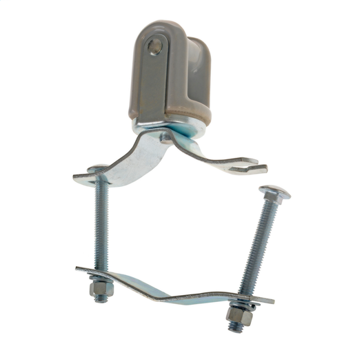 """Mayer-Mast Type Porcelain Wireholder for 1 1/4"""" thru 2 1/2"""" diameter pipe. Clamp strap is slotted for installation without removing nut from bolt.-1"""
