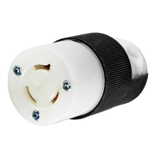 Mayer-Locking Devices, Twist-Lock®, Industrial, Female Connector Body, 15A 250V, 2-Pole 3-Wire Grounding, L6-15R, Screw Terminal, Black and White-1
