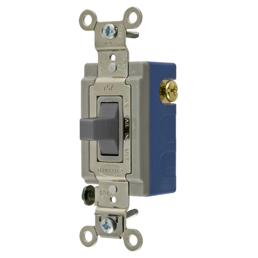 Mayer-Switches and Lighting Controls, Industrial Grade, Toggle Switches, General Purpose AC, Momentary Single Pole Double Throw Center Off, 15A 120/277V AC, Terminal Screws, Gray Toggle-1