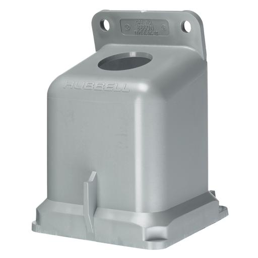 """Mayer-Heavy Duty Products, IEC Pin and Sleeve Devices, Industrial Grade, Accessory, Back Box, For 60A 1 1/4"""" NPT Hub, Angled, Mounting Screws Included, Gray Non-Metallic-1"""