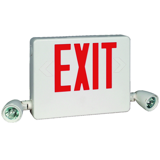 HCX Series side mount LED desiner combination exit/emergency light, Mounting Type: Wall, ceiling, end mount, Face style: Universal Single/Double Face, Wording On Sign: EXIT, Letter Color: red, Color: white, Number of Lamps: 2, Operation: emergency operati