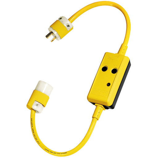 Mayer-Power Protection Products, GFCI Linecords, Commercial, Manual Set, 20A 120V AC, 5-20R, 3' Cord Length, 4-6 mA Trip Level, Black and Yellow-1