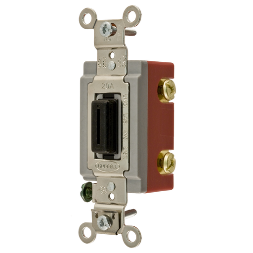 Mayer-Switches and Lighting Controls,Extra Heavy Duty Industrial Grade, Locking Toggle Switches, General Purpose AC, Single Pole, 20A 120/277V AC, Back and Side Wired, Black Key Guide-1