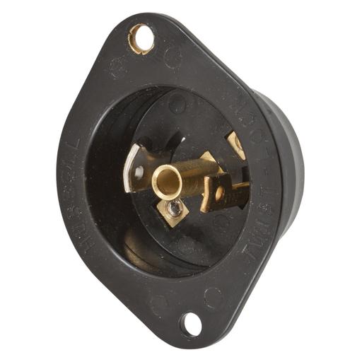Mayer-Locking Devices, Midget Twist-Lock®, Industrial, Flanged Inlet, 15A 125V AC, 2-Pole 3-Wire Grounding, NEMA ML-2P, Screw Terminal, Black Nylon Flange.-1