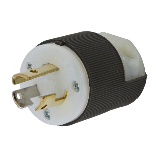 Mayer-Locking Devices, Twist-Lock®, Industrial, Male Plug, 15A 277V AC, 2-Pole 3-Wire Grounding, L7-15P, Screw Terminal, Black and White-1