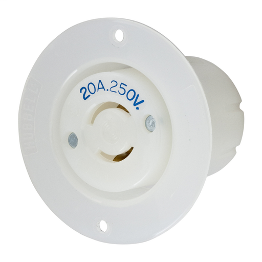 Mayer-Locking Devices, Twist-Lock®, Industrial, Flanged Receptacle, 20A 250V, 2-Pole 2-Wire Non Grounding, L2-20R, Screw Terminal, White-1