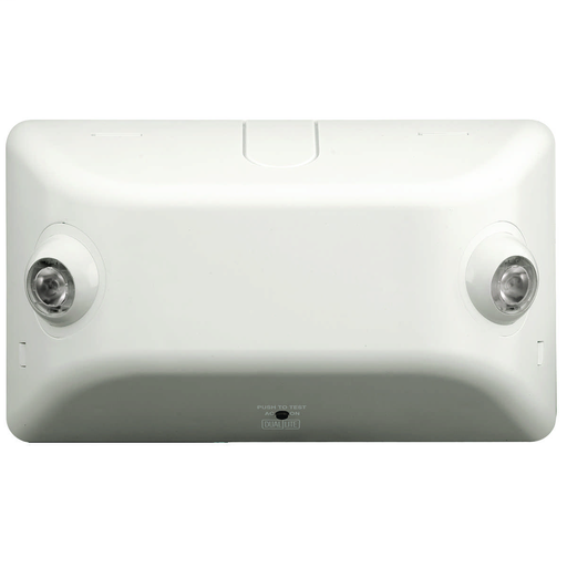 EV emergency light, Mounting Type: Wall or ceiling mount, Color: White, Number of Lamps: 2, Battery Type: Nickel Metal Hydride (NiMH), Battery Runtime: 90 min, Voltage Rating: 120/277 VAC, Environmental Conditions: Damp Location.
