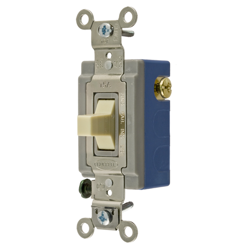 Mayer-Switches and Lighting Controls, Industrial Grade, Toggle Switches, General Purpose AC, Momentary Single Pole Double Throw Center Off, 15A 120/277V AC, Terminal Screws, Ivory Toggle-1