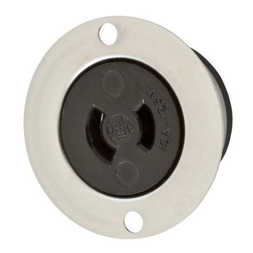 Mayer-Locking Devices, Midget Twist-Lock®, Industrial, Flanged Receptacle, 15A 125V AC, 2-Pole 2-Wire Non Grounding, NEMA ML-1R, Screw Terminal, Stainless Steel Flange.-1