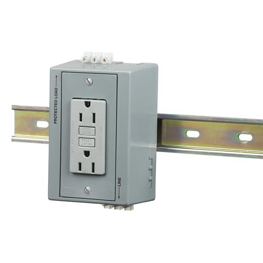 Mayer-DIN Rail Utility Box, Complete Unit- GFCI, 1) 15A 125V, 2-Pole 3-Wire Grounding, 5-15R, Gray-1
