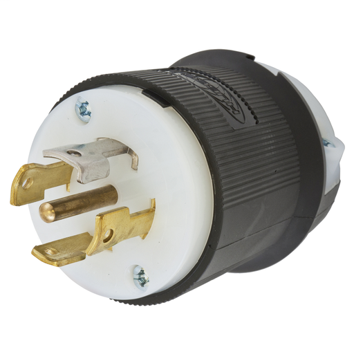 Mayer-Locking Devices, Twist-Lock®, Industrial, Male Plug, 30A 3-Phase 120/208V AC, 4-Pole 5-Wire Grounding, L21-30P, Screw Terminal, Black and White-1