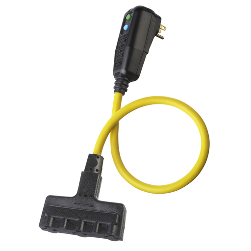 Mayer-Power Protection Products, GFCI Linecord, Commercial, Manual Set, 15A 120V AC, 5-15R, 2' Cord Length, 4-6 mA Trip Level, Black and Yellow-1