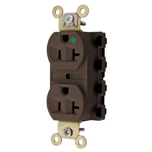 Straight Blade Devices, Receptacles, Duplex, SNAPConnect, Hospital Grade, 20A 125V, 2-Pole 3-Wire Grounding, 5-20R, Nylon, Brown.