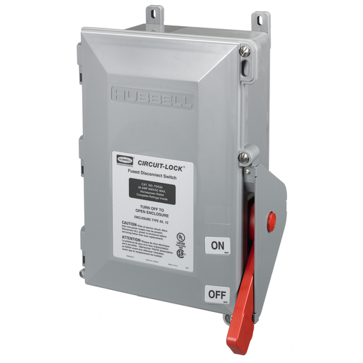 Mayer-Switches and Lighting Controls, Industrial Grade, Fused Disconnects, Heavy Duty, Three Pole, 30A 600V AC, Terminal Screws, Gray-1