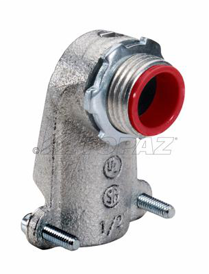 Topaz Corp 102MI 3/4 Inch Malleable Iron Squeeze Type 90 Degrees Insulated Throat Flexible Metallic Conduit Connector