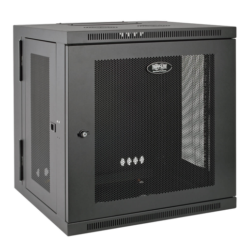 SmartRack 10U Low-Profile Switch-Depth Wall-Mount Rack Enclosure Cabinet, Hinged Back