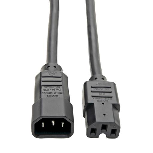 Power Cord C14 to C15 - Heavy Duty, 15A, 250V, 14 AWG, 3 ft., Black