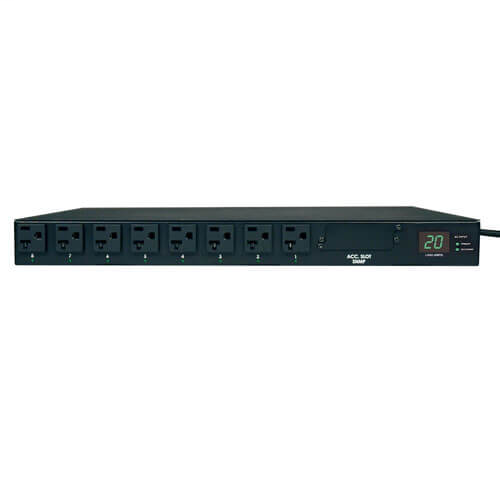 1.9kW Single-Phase Metered Automatic Transfer Switch PDU, 2 120V L5-20P / 5-20P Inputs, 16 5-15/20R Outputs, 1U, TAA