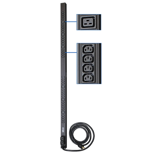 5/5.8kW Single-Phase 208/240V Basic PDU, 38 Outlets (32 C13 and 6 C19), NEMA L6-30P Input, 10 ft. Cord, 0U Vertical