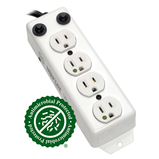For Patient-Care Vicinity – UL 1363A Medical-Grade Power Strip; 4 Hospital-Grade Outlets, 3 ft. Extendable Coiled Cord