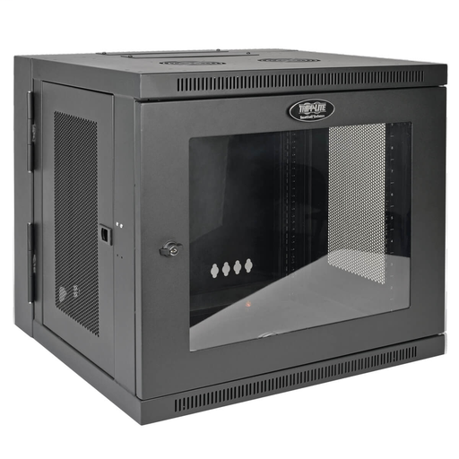SmartRack 10U Low-Profile Switch-Depth Wall-Mount Rack Enclosure Cabinet with Clear Acrylic Window, Hinged Back