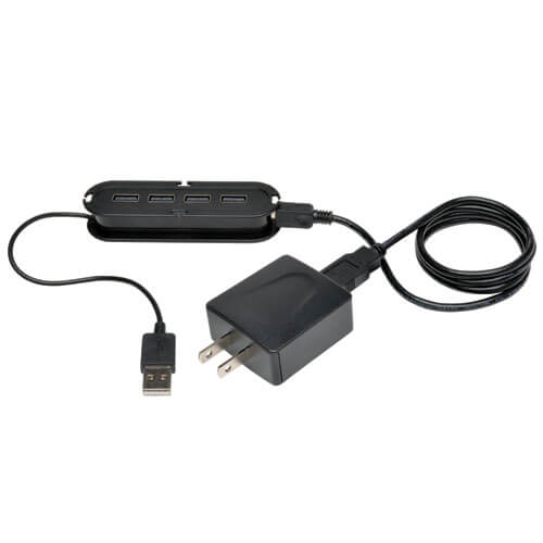 4-Port USB 2.0 Ultra-Mini Compact Hub with Power Adapter