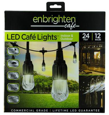 TRU 210710 ENBRIGHTEN 24'LED CAFE LIGHTS 12CT INDOOR/OUTDOOR 2700K
