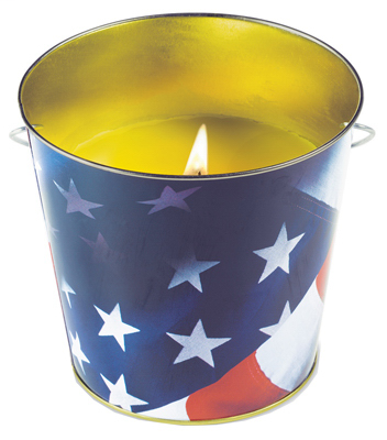 EDS 1412122 CITRONELLA MTL FLAG BUCKET TIKI / LAMPLIGHT FARMS